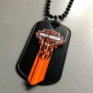 Harley Davidson dog tag key necklace ball chain